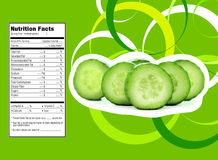 Cucumber nutrition facts. Creative Design for cucumber with Nutrition facts label Stock Images