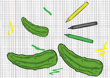 Cucumber painted on papper pattern Stock Image