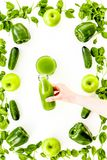 Cucumber, pepper, apple, celeriac. Vegetables for greeny organic smoothy for sport diet on stone background top view stock photo