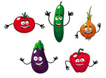 Cucumber, pepper, onion, eggplant Stock Photos
