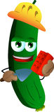 Cucumber or pickle as bricklayer with brick and trowel Royalty Free Stock Photography