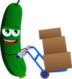 Cucumber or pickle as delivery man Stock Images