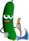 Cucumber or pickle with axe Stock Images