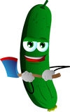 Cucumber or pickle with an axe Royalty Free Stock Image