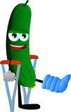 Cucumber or pickle with a broken leg walking on crutches Royalty Free Stock Images