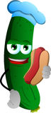 Cucumber or pickle chef with hot dog Royalty Free Stock Images