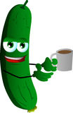 Cucumber or pickle with a cup of coffee Royalty Free Stock Image