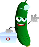 Cucumber or pickle doctor with first aid kit Stock Images