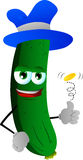 Cucumber or pickle flipping a coin Royalty Free Stock Photo