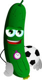 Cucumber or pickle with football or soccer ball Stock Photos