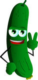Cucumber or pickle gesturing the peace sign Stock Photography