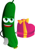 Cucumber or pickle with gift for Valentines Day Stock Images
