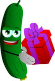 Cucumber or pickle giving you a gift box Royalty Free Stock Image