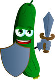 Cucumber or pickle guard with shield and sword Stock Photo