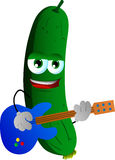 Cucumber or pickle guitar player Stock Photography