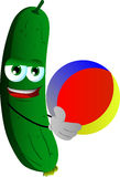 Cucumber or pickle holding a beach ball Royalty Free Stock Images