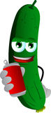 Cucumber or pickle holding beer or soda can Stock Photo