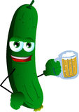 Cucumber or pickle holding beer Royalty Free Stock Photo