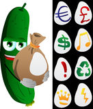 Cucumber or pickle holding a big sack with variable signs Stock Photography