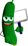 Cucumber or pickle holding blank board Royalty Free Stock Images