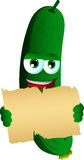 Cucumber or pickle holding a blank old paper Royalty Free Stock Photography