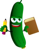 Cucumber or pickle holding a book and a pencil Royalty Free Stock Images