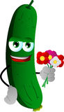 Cucumber or pickle holding a bunch of flowers Stock Image