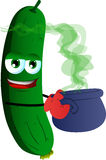 Cucumber or pickle holding cauldron with potion Royalty Free Stock Photo