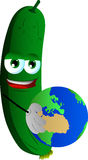 Cucumber or pickle holding Earth Royalty Free Stock Photo