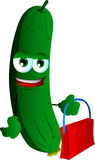 Cucumber or pickle holding an empty bag Stock Images