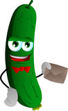 Cucumber or pickle holding an envelope Royalty Free Stock Images