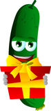 Cucumber or pickle holding gift box Royalty Free Stock Photo