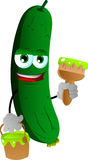 Cucumber or pickle holding a paint can and a paint brush Royalty Free Stock Photography