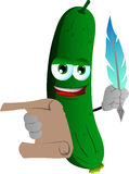 Cucumber or pickle holding paper scroll and feather Royalty Free Stock Images