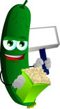 Cucumber or pickle holding popcorn and blank board Royalty Free Stock Photography
