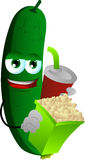 Cucumber or pickle holding popcorn and soft drink Stock Images