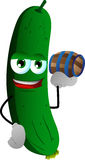 Cucumber or pickle holding a small barrel Royalty Free Stock Images