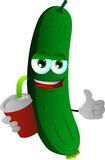 Cucumber or pickle holding soda and showing thumb up sign Royalty Free Stock Photo