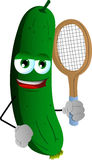 Cucumber or pickle holding a tennis rocket Stock Photos