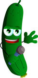 Cucumber or pickle hosting a show and talking into a microphone Stock Image