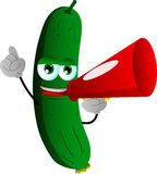 Cucumber or pickle with megaphone Stock Photo