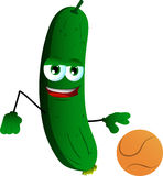 Cucumber or pickle playing basketball Stock Images