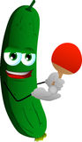 Cucumber or pickle playing ping pong Royalty Free Stock Images
