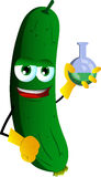 Cucumber or pickle scientist holds beaker of chemicals Royalty Free Stock Image