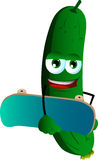 Cucumber or pickle with skateboard Royalty Free Stock Photo