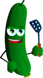 Cucumber or pickle with a spatula Stock Photos