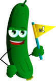 Cucumber or pickle sports fan with flag Stock Photos