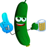 Cucumber or pickle sports fan with glove and beer Royalty Free Stock Photos