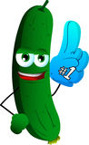 Cucumber or pickle sports fan with glove Stock Photography
