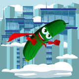Cucumber or pickle superhero flying in the city Stock Photo